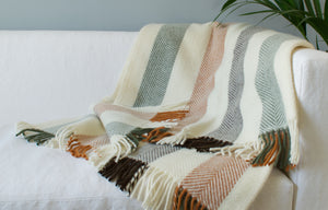 Woodland Stripe wool throw on sofa