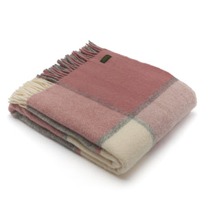 Tweedmill Charcoal and Dusky Pink Block Check Wool Blanket Throw