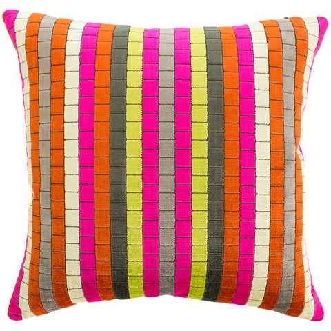 Multicoloured luxury velvet striped cushion