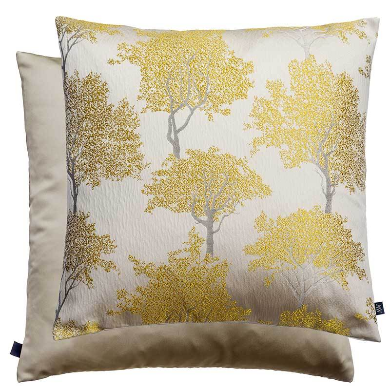 Gold and silver cushion with tree pattern