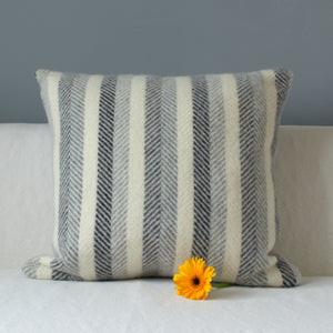 Monochrome striped grey tweedmill wool cushion