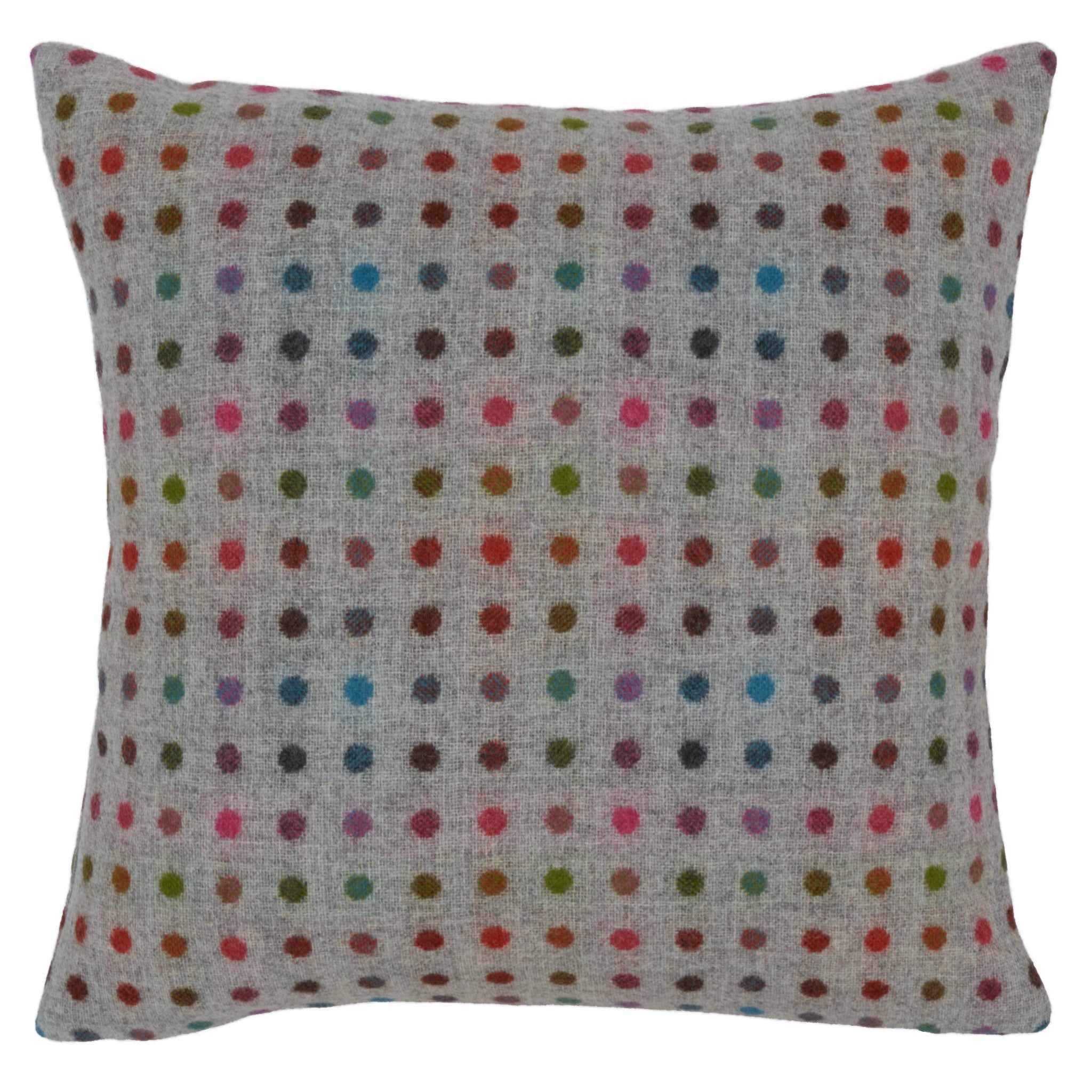 multispot grey wool cushion
