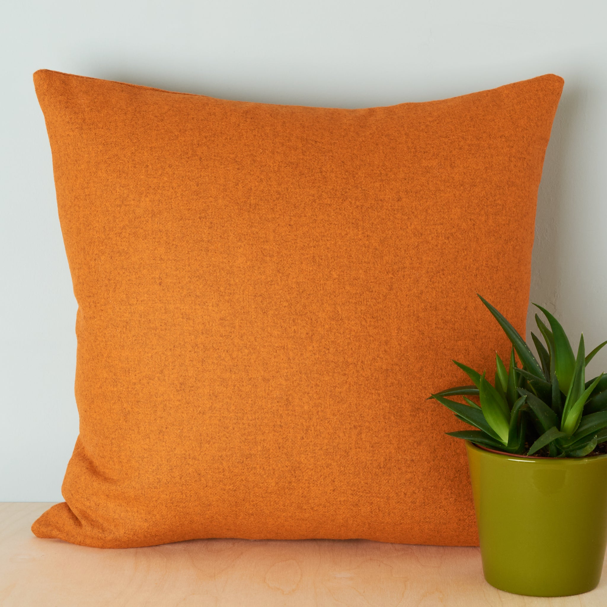 orange merino lambswool cushion