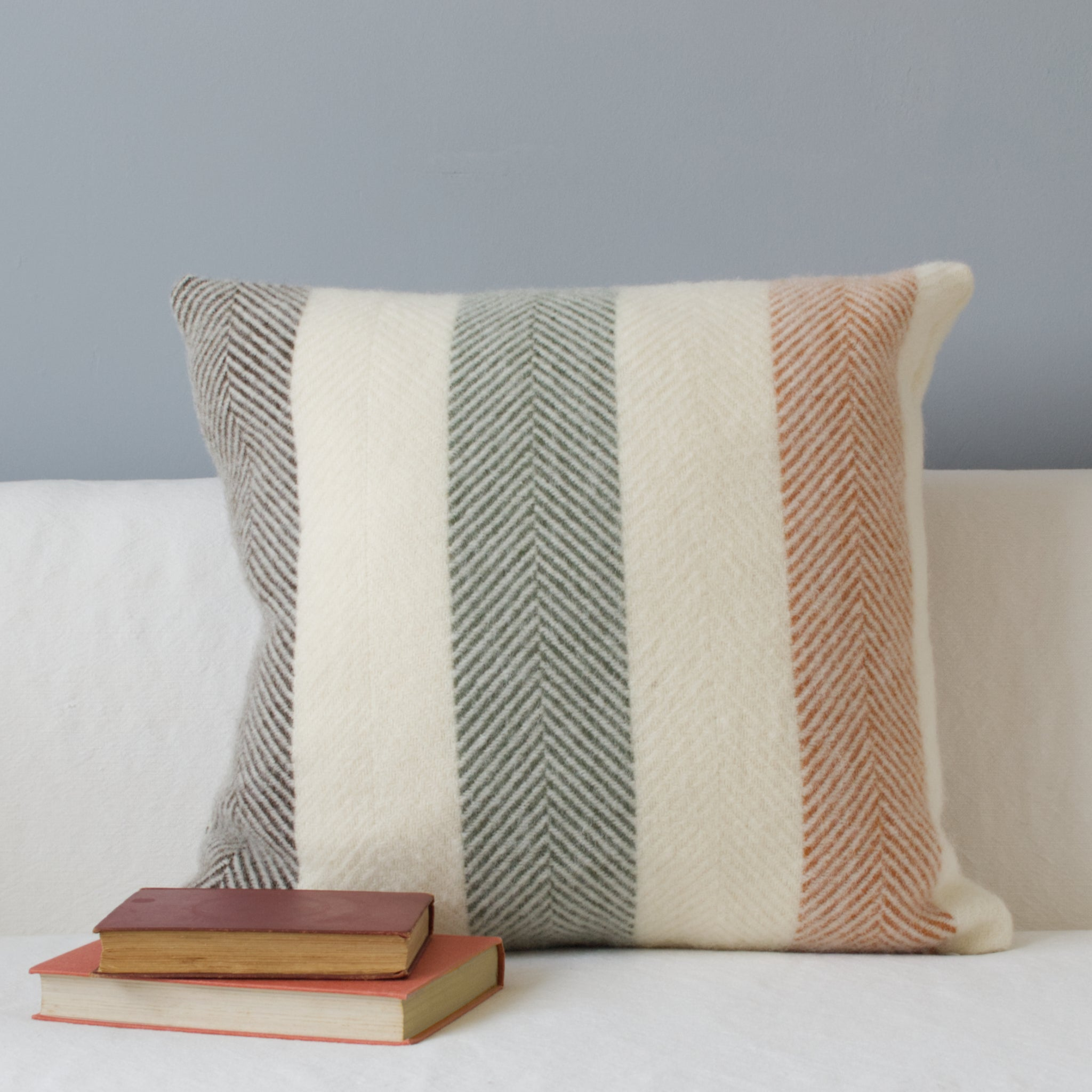 Wool cushion with stripes