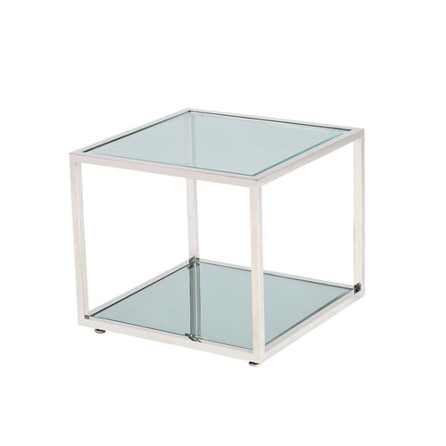 Caspian End Table Stainless Steel frame, glass & mirror tops - waymor.ca