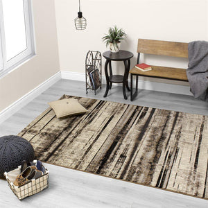 Platinum Distressed Stripes Rug