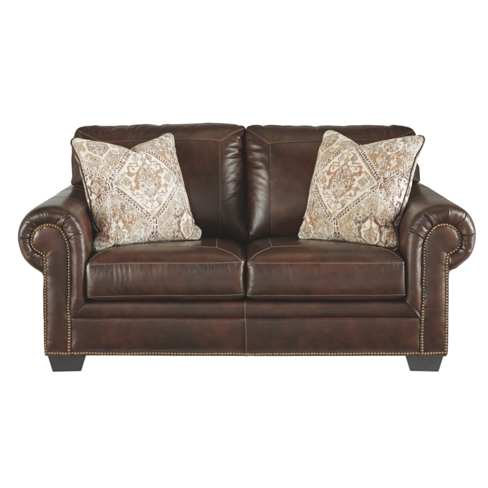 Roleson Leather Loveseat - Walnut