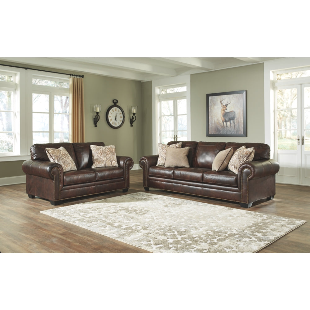 Roleson Leather Sofa & Loveseat - Walnut