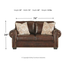 Load image into Gallery viewer, Roleson Leather Loveseat - Walnut