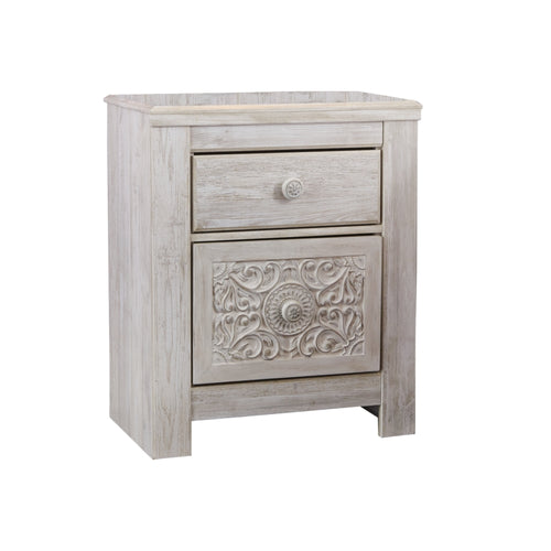 Paxberry Two Drawer Night Stand- Whitewash