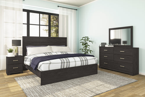 Belachime 6Pc King Panel Bedroom Set - Black