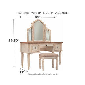 Realyn Vanity/Mirror/Stool (3/CN)