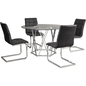 Madanere 5 Piece Black Dining Room Table Set
