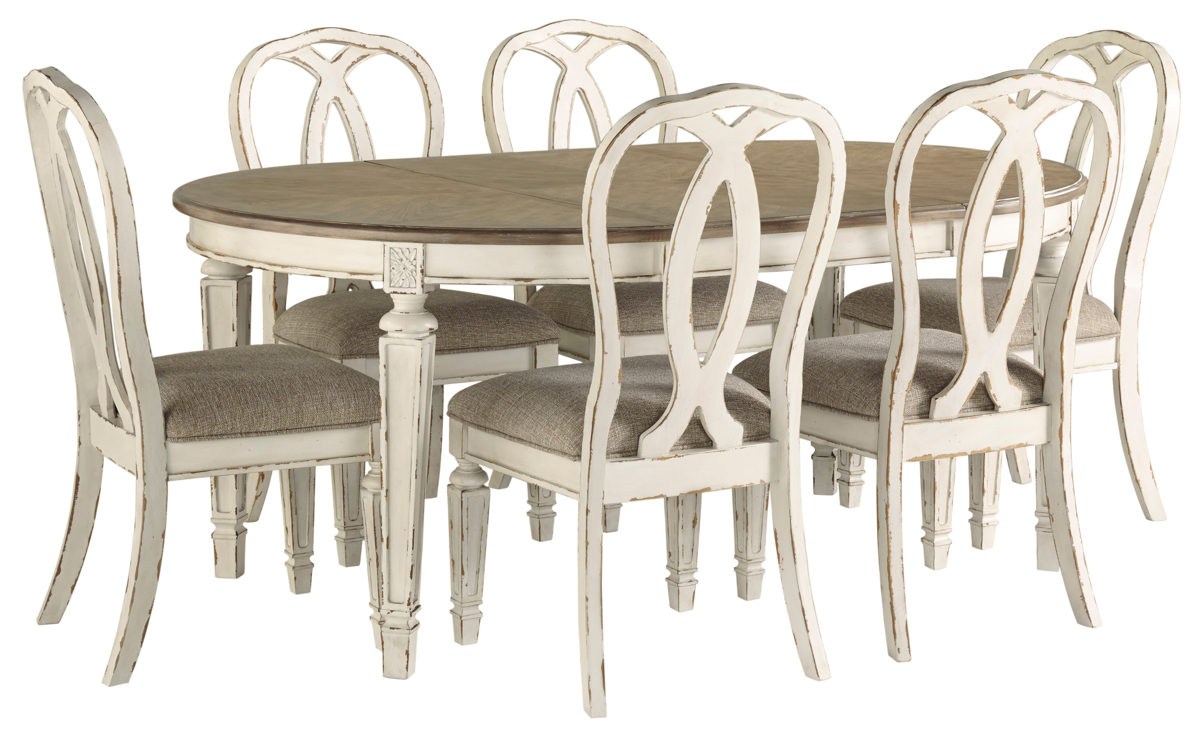 Ashley Realyn Oval Dining Room Ext Table And Chairs 7 Pc Set Furniture Depot