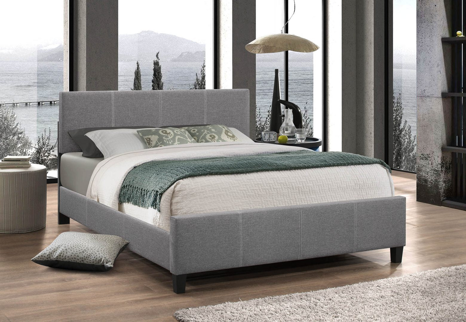 137 Light Grey Fabric Bed With Contrast Stitching
