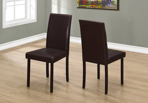 "I 1172 DINING CHAIR - 2PCS / 36""H DARK BROWN LEATHER-LOOK"