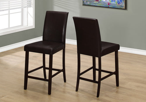DINING CHAIR - 2PCS / BROWN LEATHER-LOOK COUNTER HEIGHT