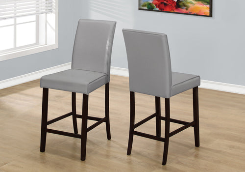 DINING CHAIR - 2PCS / GREY LEATHER-LOOK COUNTER HEIGHT