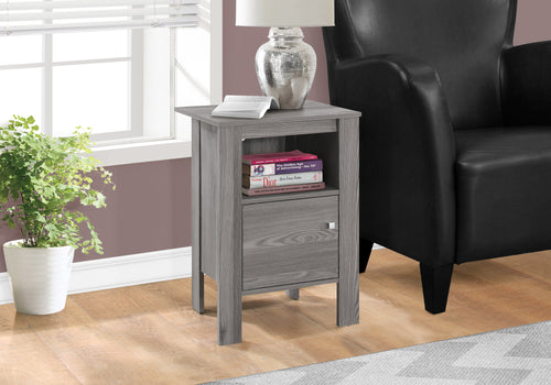 I 2138 ACCENT TABLE - GREY NIGHT STAND WITH STORAGE