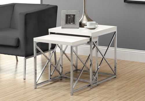 I 3025 NESTING TABLE - 2PCS SET / GLOSSY WHITE / CHROME METAL