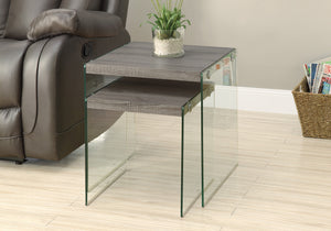 I 3053 NESTING TABLE - 2PCS SET / DARK TAUPE / TEMPERED GLASS