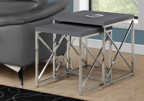 I 3226 NESTING TABLE - 2PCS SET / GREY WITH CHROME METAL