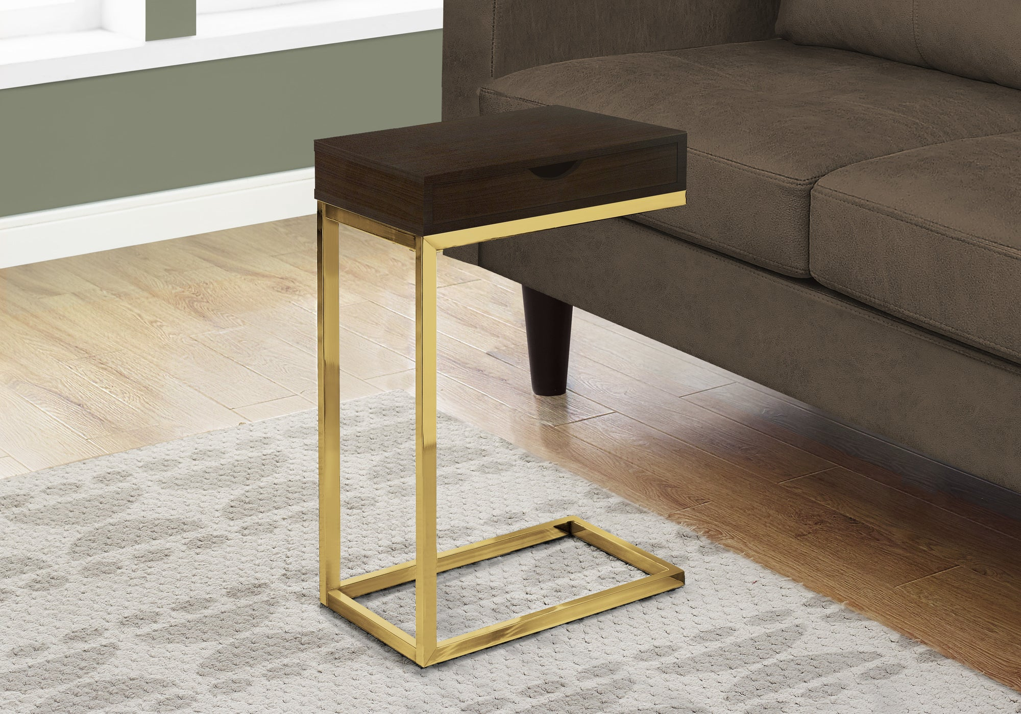 I 3236 ACCENT TABLE - CAPPUCCINO / GOLD METAL WITH A DRAWER