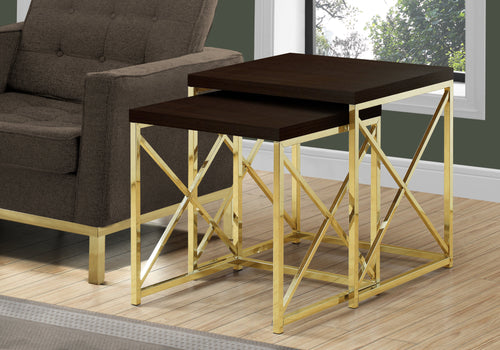 I 3237 NESTING TABLE - 2PCS SET / CAPPUCCINO / GOLD METAL