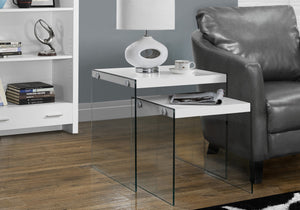 I 3287 NESTING TABLE - 2PCS SET / GLOSSY WHITE / TEMPERED GLASS