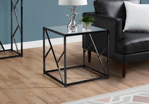 I 3396 ACCENT TABLE - BLACK NICKEL METAL / MIRROR TOP