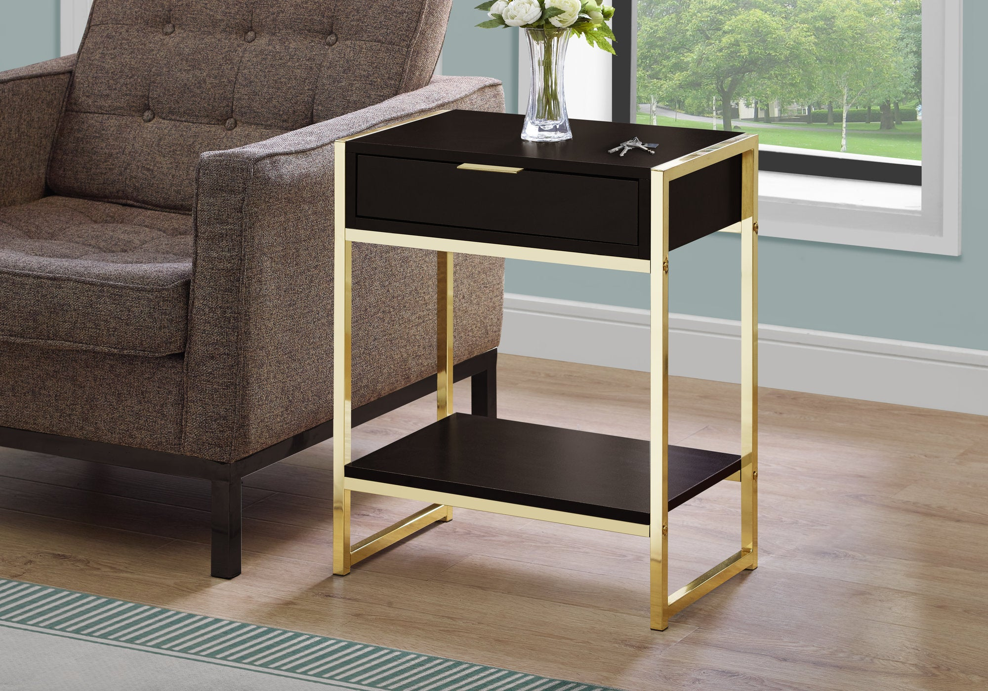"""I 3486 ACCENT TABLE - 24""""H / CAPPUCCINO / GOLD METAL"""