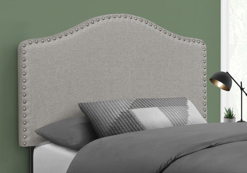 I 6013T BED - TWIN SIZE / GREY LINEN HEADBOARD ONLY