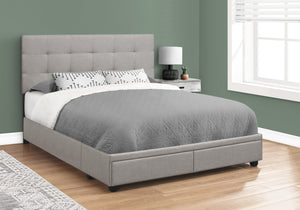 I 6020Q BED - QUEEN SIZE / GREY LINEN WITH 2 STORAGE DRAWERS