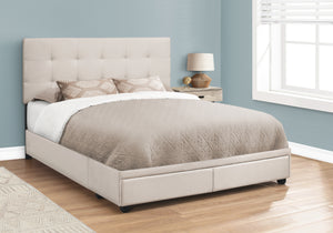 I 6021Q BED - QUEEN SIZE / BEIGE LINEN WITH 2 STORAGE DRAWERS