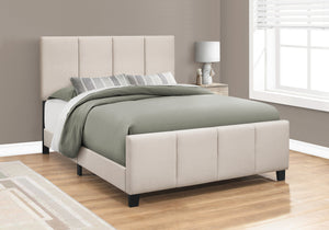I 6026Q BED - QUEEN SIZE / BEIGE LINEN WITH BLACK WOOD LEGS