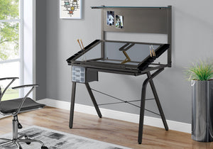 I 7034 DRAFTING TABLE - ADJUSTABLE / GREY METAL / TEMPERED GLASS