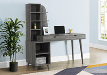 "Load image into Gallery viewer, I 7098 COMPUTER DESK - 55""L / GREY WITH BOOKCASE"