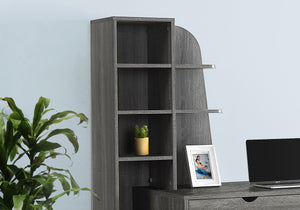 "I 7098 COMPUTER DESK - 55""L / GREY WITH BOOKCASE"