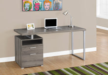 "Load image into Gallery viewer, I 7145 COMPUTER DESK - 60""L / DARK TAUPE / SILVER METAL"