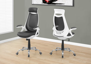I 7269 OFFICE CHAIR - WHITE / GREY MESH / CHROME HIGH-BACK EXEC