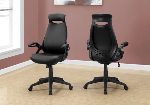 I 7276 OFFICE CHAIR - BLACK LEATHER-LOOK / MULTI POSITION