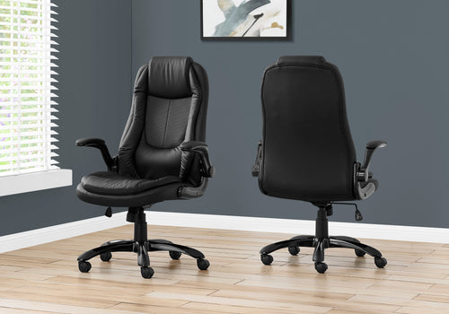 I 7277 OFFICE CHAIR - BLACK LEATHER-LOOK / HIGH BACK EXECUTIVE