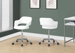 I 7299 OFFICE CHAIR - WHITE / CHROME METAL HYDRAULIC LIFT BASE