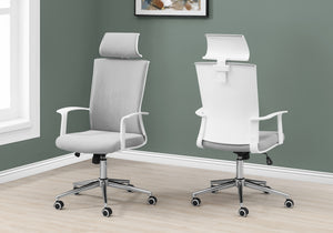 I 7301 OFFICE CHAIR - WHITE / GREY FABRIC / HIGH BACK EXECUTIVE