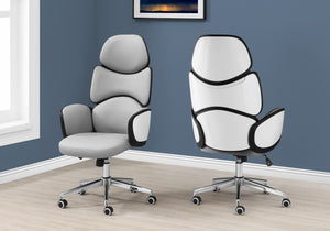 I 7322 OFFICE CHAIR - GREY LEATHER-LOOK / HIGH BACK EXECUTIVE