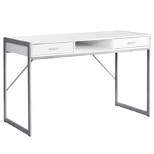 "Load image into Gallery viewer, I 7364 COMPUTER DESK - 48""L / WHITE / SILVER METAL"