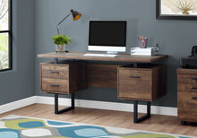 "Load image into Gallery viewer, I 7416 COMPUTER DESK - 60""L / BROWN RECLAIMED WOOD / BLACK METAL"