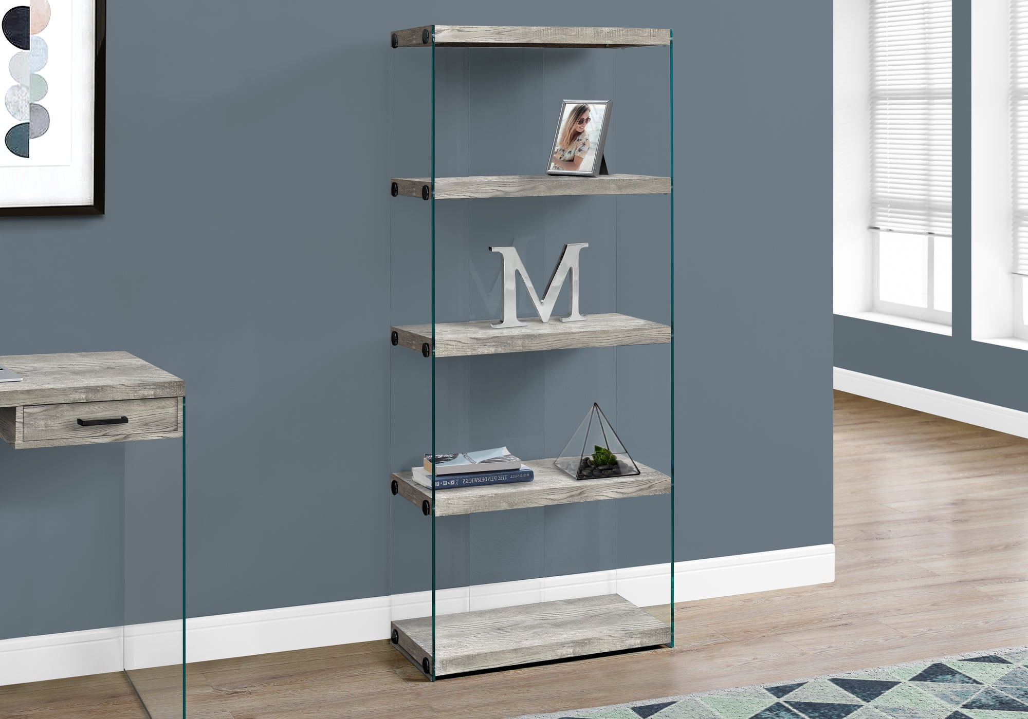 """I 7442 BOOKCASE - 60""""H / GREY RECLAIMED WOOD-LOOK /GLASS PANELS"""