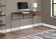 "Load image into Gallery viewer, I 7444 COMPUTER DESK - 48""L / BROWN RECLAIMED WOOD/ GLASS PANELS"