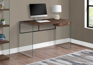 "I 7444 COMPUTER DESK - 48""L / BROWN RECLAIMED WOOD/ GLASS PANELS"